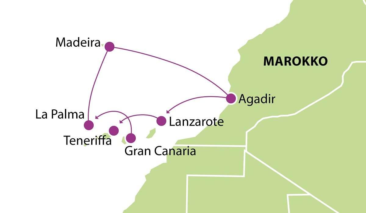 Kanariansaaret Madeira ja Marokko kartta 2019 2020