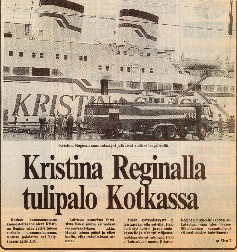 Lehtileike Kristina Reginan tulipalosta